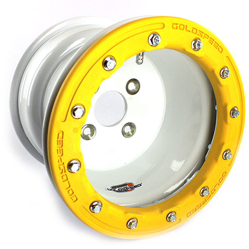 Goldspeed White Wheel 10x8 3+5 4/100 Conical Ø64mm Beadlock PC Yellow