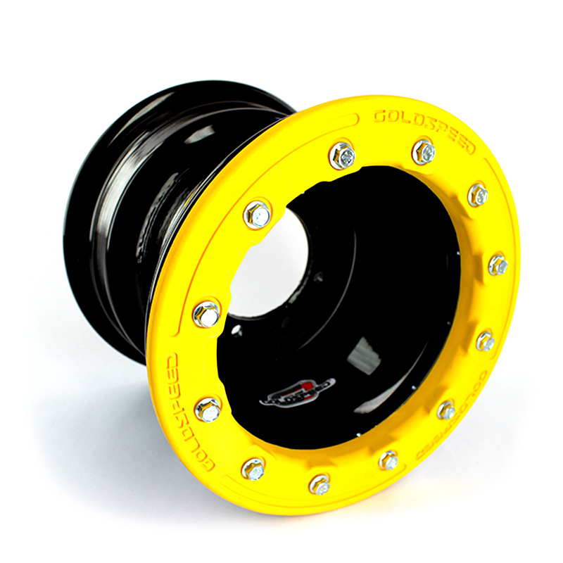 GOLDSPEED Wheel 10x8 3+5 4/100 Conical Beadlock PC Yellow